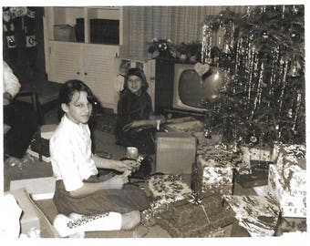 "Vintage Snapshot ""Christmas '65"" Barbie Doll Christmas Tree Old TV Polaroid Black & White Found Vernacular Photo"