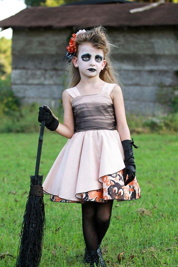 Girls Black Cat Halloween Dress - Fancy Halloween Dress - Black and Orange Halloween Dress - Girls Halloween Dress