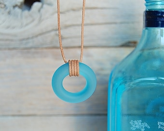 Bombay Sapphire Gin Leather Necklace | Upcycled Glass Bottle Jewelry