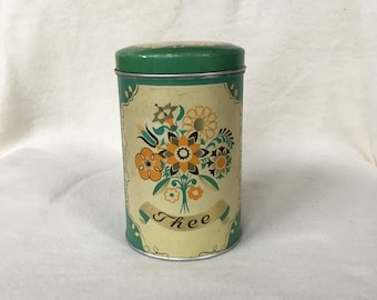 Vintage look, tea tin green with flowers