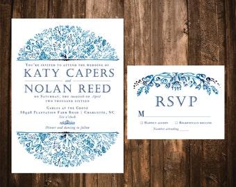 Invitations de mariage aquarelle florale marine; Invitations de mariage aquarelle; Invitations de mariage; Aquarelle fleurs