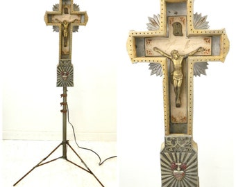 1920s Neon Crucifix Cross on Stand...Funeral Home Light Up Display...WORKS!...Yellow & Blue Neon Tube Lighting...Light Up Religious Figure