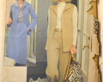 Vintage 70's Sewing Pattern Simplicity 8161 Misses' Shirt-Jacket,  Vest, Skirt, and Pants 10 Bust 32 inches UNCUT COMPLETE