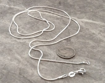 1 30 inch silver plated 1mm snake chain with Lobster Claw Clasp   FAST SHIPPING