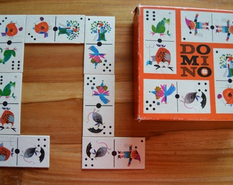 Vintage domino game with beautiful illustrations