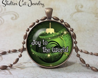 "Joy To The World Necklace - Christmas Ornament - 1-1/4"" Circle Pendant or Key Ring - Green - Christmas Present, Holiday Gift"