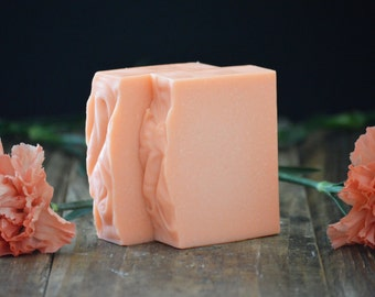 Rosewood Plumeria Soap | Tropical + Floral Scented Body Wash Bar, Vegan, Handmade, Cold Process, Orange Coral, Artisan Gift, Feminine Scent