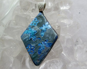 Dichroic Glass Necklace, Shades of Blue over Shinny Blue Dichro,  Dichroic Glass Jewelry,  Necklace Included
