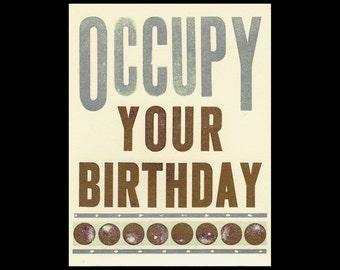 Occupy Your Birthday letterpress Card