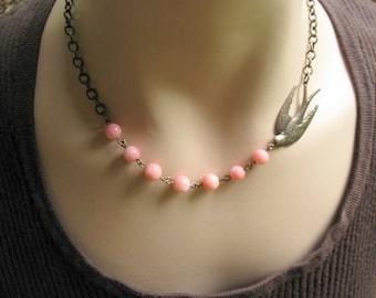 Pink Bird Necklace, Bird Lover Gift for Bird Watcher, Pink Coral Necklace, Bird Flying Necklace, Gift under 30, Gift for Grandma