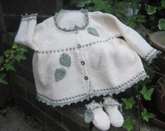 Baby's matinee jacket and booties, Fearne, BABY KNITTING PATTERN in pdf, Baby Cardigan, Baby Booties, Instant Download, Baby Shower Gift