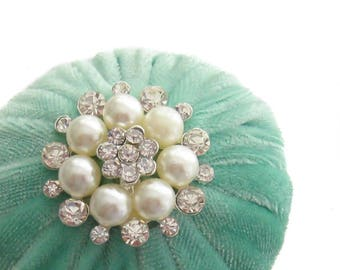 "2"" Mint Green Velvet Pincushion Filled With Abrasive Emery Mineral To Keep Your Needles Clean & Sharp"