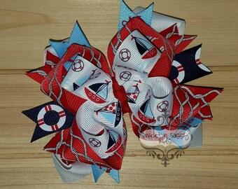 STORE CLOSING, Sailboat, Nautical, red, white, blue, hair bow