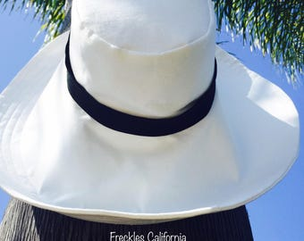 Cream Wide Brim Sun Hat Travel Sunhat Summer Hat Wide Brimmed Sunhat Chic Accessory Women's Sunhat by Freckles California