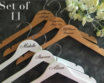 Set of 11 Laser Engraved Hangers/Laser Engraved Bridal Hanger/ Bride /Wedding Hanger/ bridal party gift/Engraved hanger/ wedding hanger