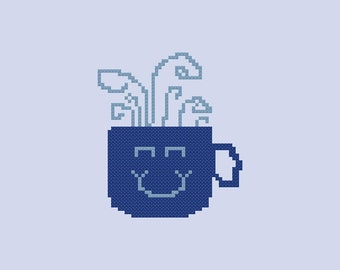 Simple Smiling Coffee Cup Cross Stitch Pattern PDF Digital Download