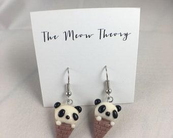 Panda bear animal polymer clay ice cream cone earrings