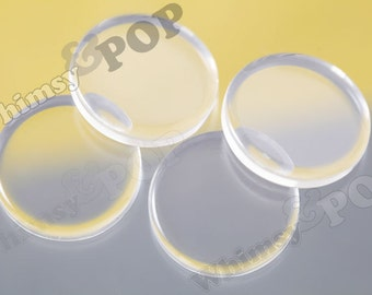 12mm, 14mm, 16mm, 20mm, 25mm Clear Round FLAT Glass Dome Seals Blanks, Glass Cabochon Findings, Flat Glass Cabochons, Pick-a-size - 10pcs