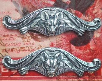 TWO Flying Fox Brass Stampings, Sterling Silver finish, Gothic Jewelry Supplies, Bats, Jewelry Supplies, Craft Supplies and Findings