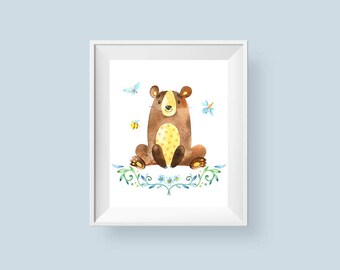 Woodland Nursery Decor Bear Print, Bee Butterfly Watercolor Floral Printable Wall Art, Boys or Girls Art 8x10 11x14 Instant Digital Download