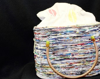 Handcrafted recycled material bag handled lined uber cute empowering women