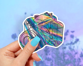 Holographic Camera, Vinyl Stickers, Cute Stickers, Laptop Sticker