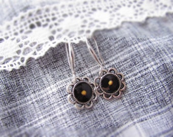 Flower Mustard Seed earrings, Faith jewelry - Mustard Seed flower earrings gift. Unique Mustard Seed jewelry – silver black jewelry for her