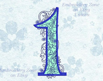 Curls Applique Number 1 first Machine Embroidery Design.Number 1 first applique embroidery design Figure One Number 1.First applique.3 Sizes