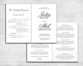 Wedding Program - Jewish Marriage Ceremony - Catholic Mass - Order of Service Bulletin - Bulletin - Program - Script Calligraphy Program