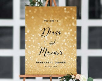 Glitz Rehearsal Dinner Welcome Sign Poster | ANY OCCASION