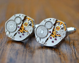 Watch Movement Cufflinks With Rubies- Steampunk Cufflinks, Watch Cufflinks Mens Cufflinks, Watch Cufflinks Clock Cufflinks