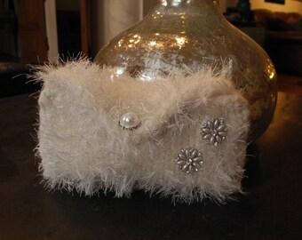 Hand Knit Ivory Felt Rustic Eco Chic Wedding Clutch - Glitz and Fur