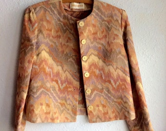 1980s Multi-color Collarless Southwestern Vintage Blazer