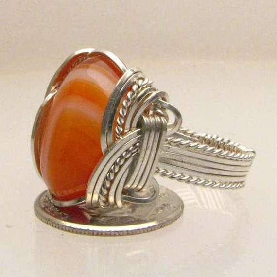 Sardonyx Wire Wrapped Ring Handmade Sterling Silver Wire Wrapped Striped Sardonyx Ring