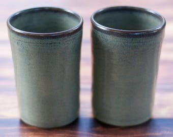 Slate Grey Tumblers Set of 2 --  Large Handmade Stoneware pottery tumbler cups