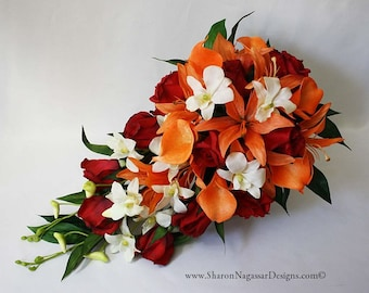 Red, orange, off-white, Cascade cascading bouquet, Real Touch flowers, Tiger lilies, roses, calla lilies, orchids, silk wedding flowers