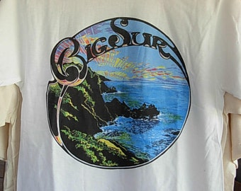 Big Sur California design on White or Natural short sleeve T shirt