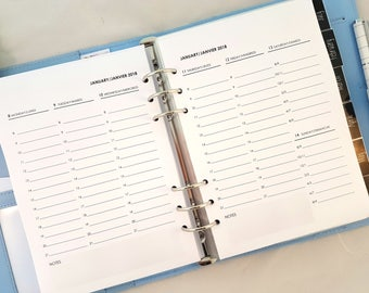 A5 Week on 2 Pages planner refill - vertical WO2P - dated planner inserts with French | printed A5 inserts for large Kikki K filofax refill