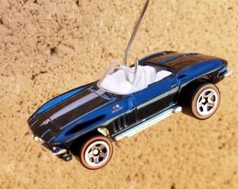 Christmas ornament, '65 Chevy Corvette convertible charm, Hot Wheels ornament, car ornament,1965 Corvette, Die cast ornament,car accessories