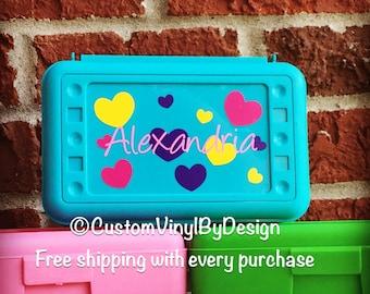 Personalized Pencil Box, Pencil Case, Pencil Holder, Personalized Crayon Box, Crayon Holder, School Supplies, School Box, Art Supply Box
