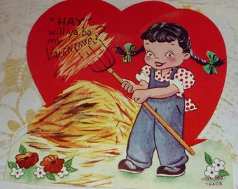 Hay - WIll Ya Be My Valentine Little Girl With Pitchfork Vintage A-meri-card UNUSED