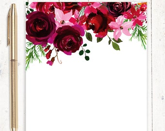 personalized notePAD - BURGUNDY and RED watercolor ROSES - personalized stationary - flower stationery - letter writing paper- pretty paper