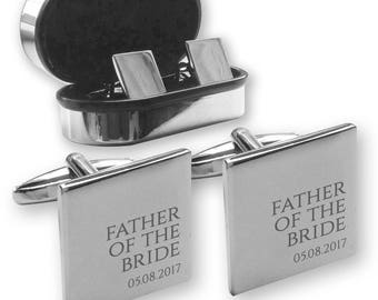 Personalised engraved FATHER of the BRIDE wedding cufflinks, in a chrome coloured presentation box - RR1