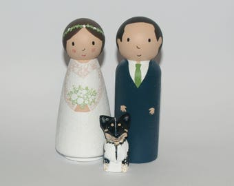Unique Wedding Cake Topper with dog or cat - Custom Unique Cake Topper Bride and Groom - Personalised Wedding Cake Topper - Unique Wedding