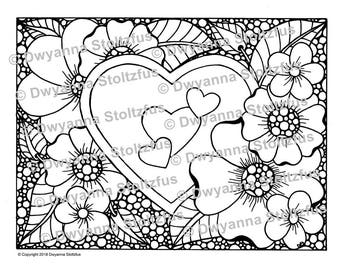 Hearts with Flowers Coloring Page JPG