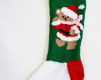 Knit Teddy Bear with Pink Scarf Christmas Stocking - Personalize