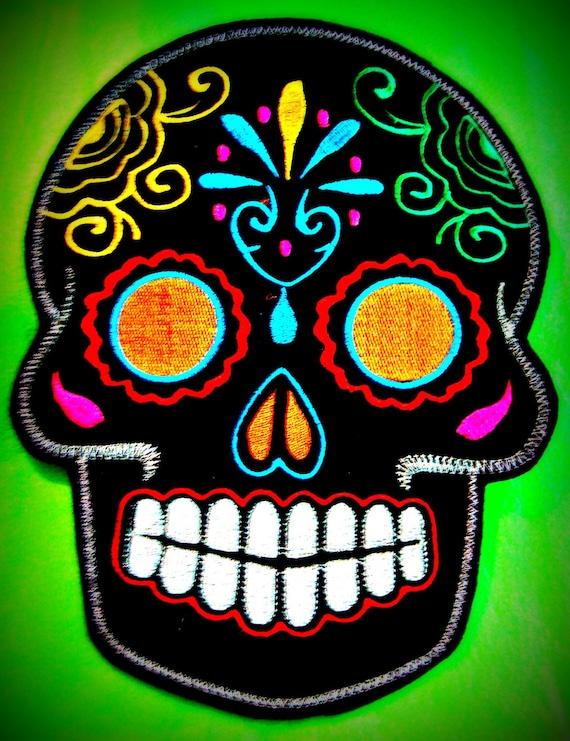 Sugar Skull embroidery patch 8X10 in. black multi orange eyes Dia de los Muertos