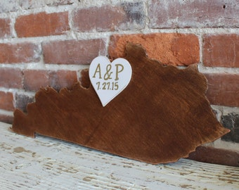 """Custom Wooden State Wedding Guestbook - 18"""" Kentucky in Distressed Chestnut- any state/country available in many colors"""