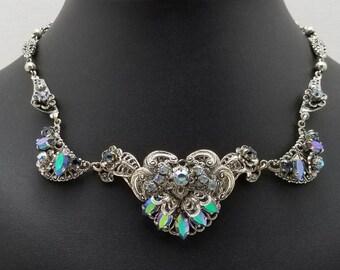 W. GERMANY Blue Filigree Style Necklace