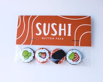 Sushi Button Pack // food buttons // cute buttons // Cheddar Studios